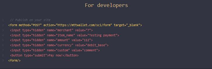 درگاه پرداخت MTTWALLET با قرار دادن API ویژه توسعه دهندگان سایت های فروشگاهی، عملیات پرداخت را آسان نموده است.